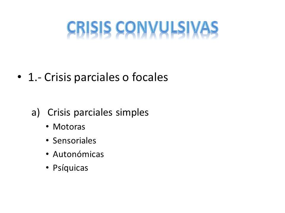 b)Crisis parciales complejas Crisis PS seguidas de alteraciones de conciencia Alteración de la conciencia desde el inicio c)Crisis Parciales secundariamente generalizadas