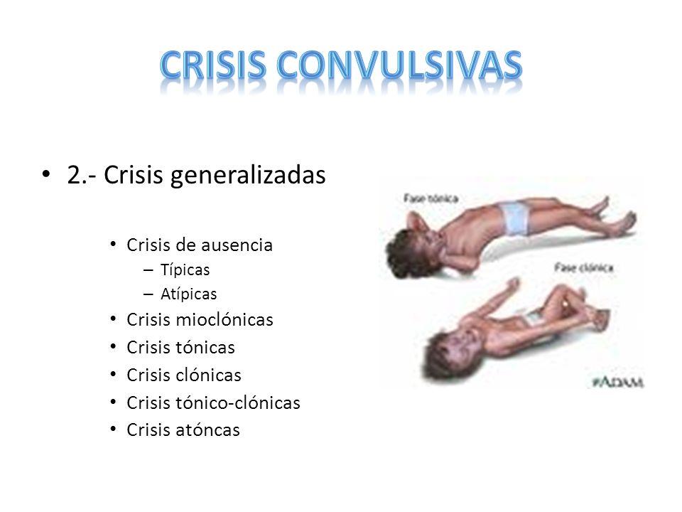 2.- Crisis generalizadas Crisis de ausencia – Típicas – Atípicas Crisis mioclónicas Crisis tónicas Crisis clónicas Crisis tónico-clónicas Crisis atónc