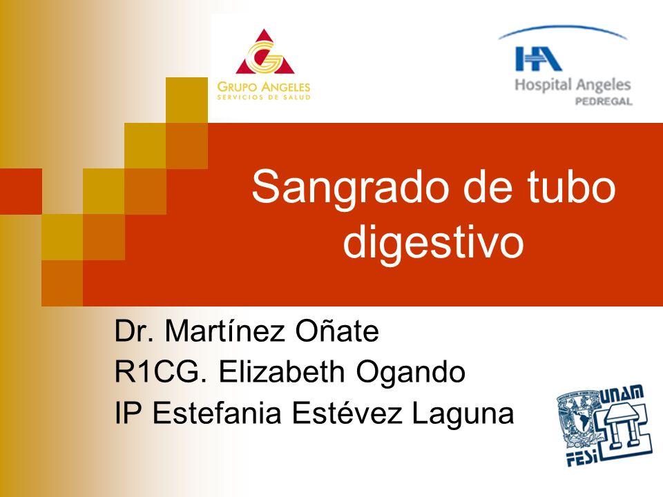 Sangrado de tubo digestivo Dr. Martínez Oñate R1CG. Elizabeth Ogando IP Estefania Estévez Laguna