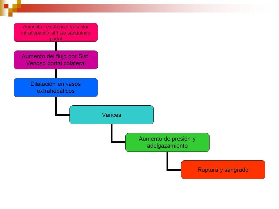 Aumento resistencia vascular intrahepática al flujo sanguíneo portal Aumento del flujo por Sist. Venoso portal colateral Dilatación en vasos extrahepá
