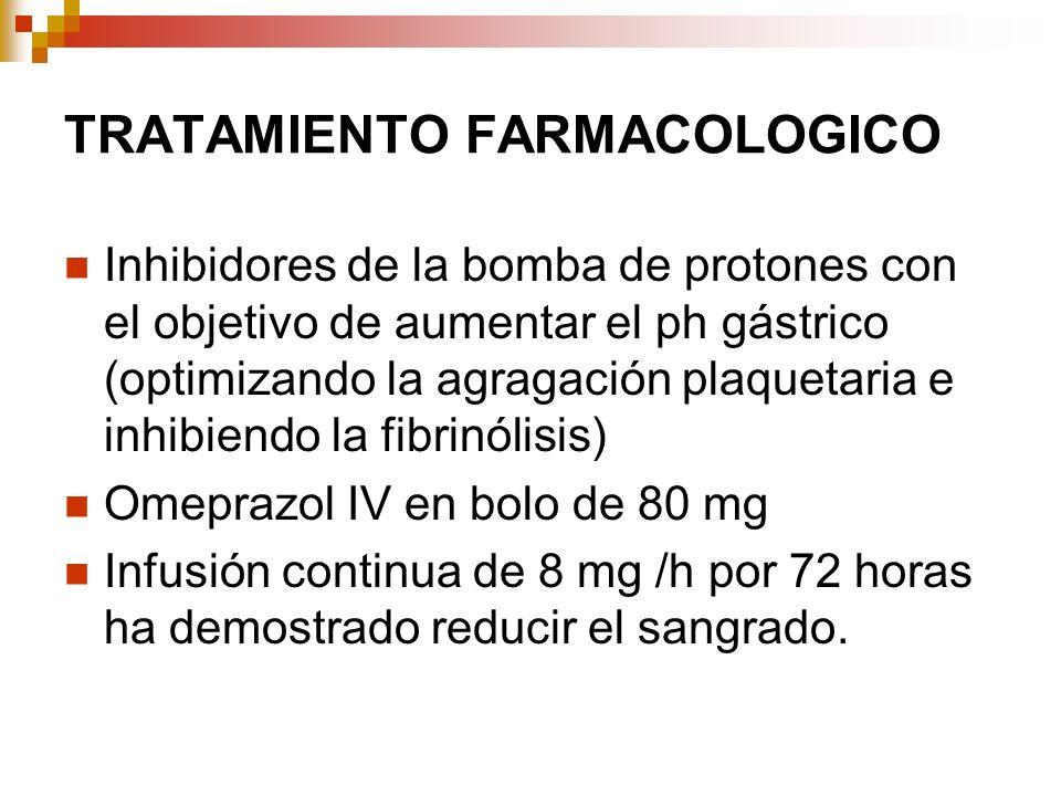 TRATAMIENTO FARMACOLOGICO Inhibidores de la bomba de protones con el objetivo de aumentar el ph gástrico (optimizando la agragación plaquetaria e inhi