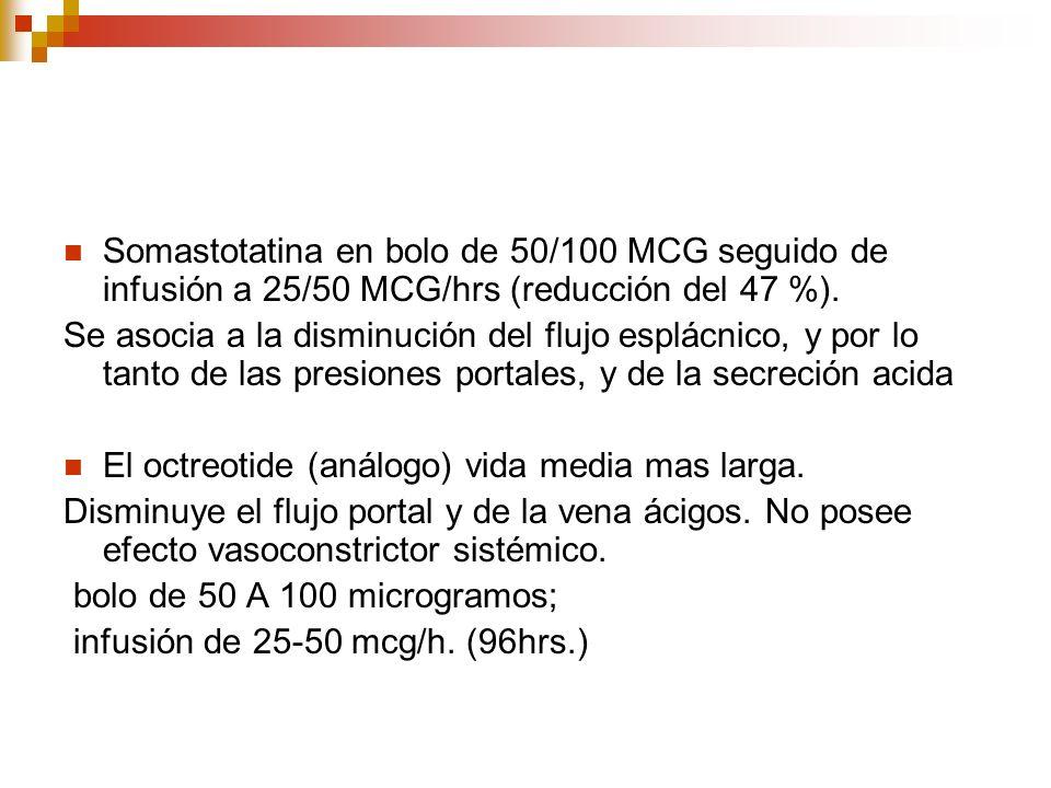 Somastotatina en bolo de 50/100 MCG seguido de infusión a 25/50 MCG/hrs (reducción del 47 %). Se asocia a la disminución del flujo esplácnico, y por l