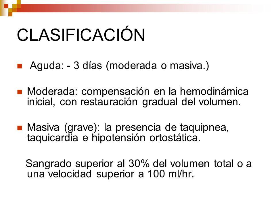 CLASIFICACIÓN Aguda: - 3 días (moderada o masiva.) Moderada: compensación en la hemodinámica inicial, con restauración gradual del volumen. Masiva (gr