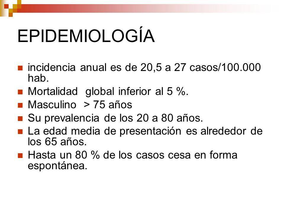 EPIDEMIOLOGÍA incidencia anual es de 20,5 a 27 casos/100.000 hab. Mortalidad global inferior al 5 %. Masculino > 75 años Su prevalencia de los 20 a 80