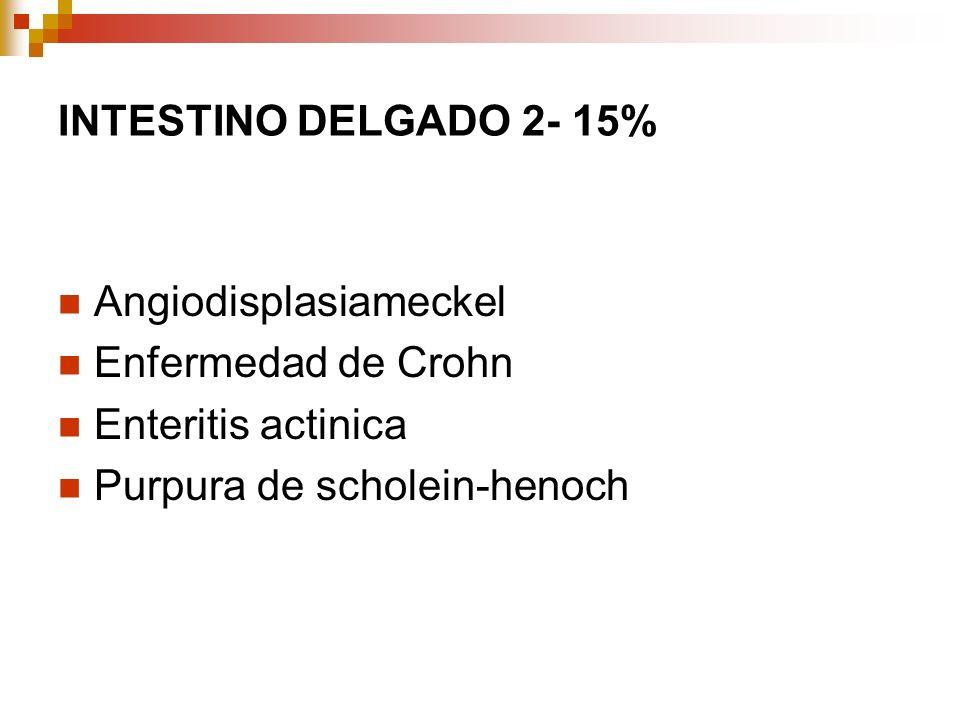 INTESTINO DELGADO 2- 15% Angiodisplasiameckel Enfermedad de Crohn Enteritis actinica Purpura de scholein-henoch