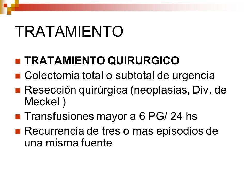 TRATAMIENTO TRATAMIENTO QUIRURGICO Colectomia total o subtotal de urgencia Resección quirúrgica (neoplasias, Div. de Meckel ) Transfusiones mayor a 6