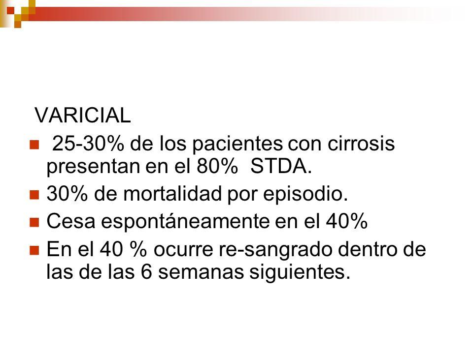 VARICIAL 25-30% de los pacientes con cirrosis presentan en el 80% STDA. 30% de mortalidad por episodio. Cesa espontáneamente en el 40% En el 40 % ocur
