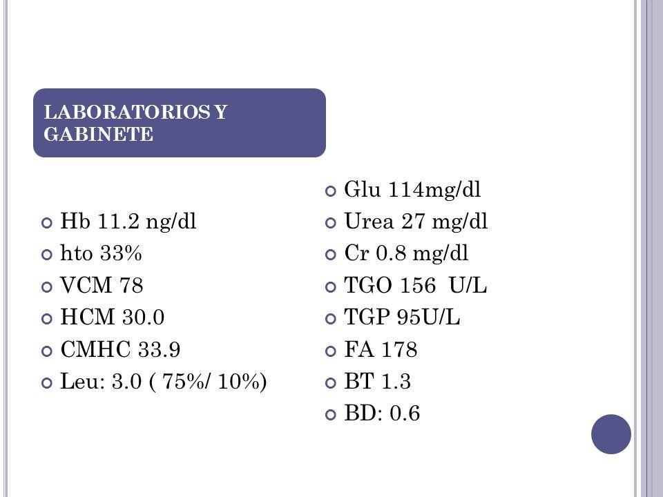 Hb 11.2 ng/dl hto 33% VCM 78 HCM 30.0 CMHC 33.9 Leu: 3.0 ( 75%/ 10%) Glu 114mg/dl Urea 27 mg/dl Cr 0.8 mg/dl TGO 156 U/L TGP 95U/L FA 178 BT 1.3 BD: 0