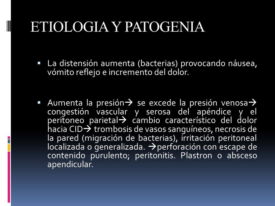 ETIOLOGIA Y PATOGENIA La distensión aumenta (bacterias) provocando náusea, vómito reflejo e incremento del dolor. Aumenta la presión se excede la pres