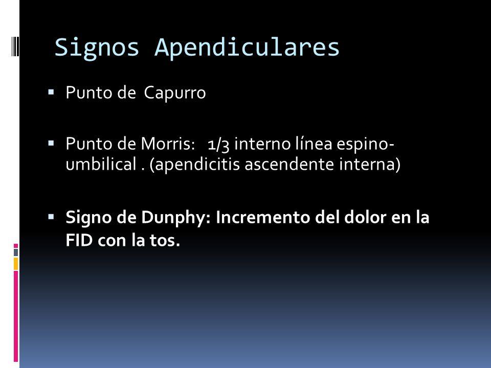 Signos Apendiculares Punto de Capurro Punto de Morris: 1/3 interno línea espino- umbilical. (apendicitis ascendente interna) Signo de Dunphy: Incremen