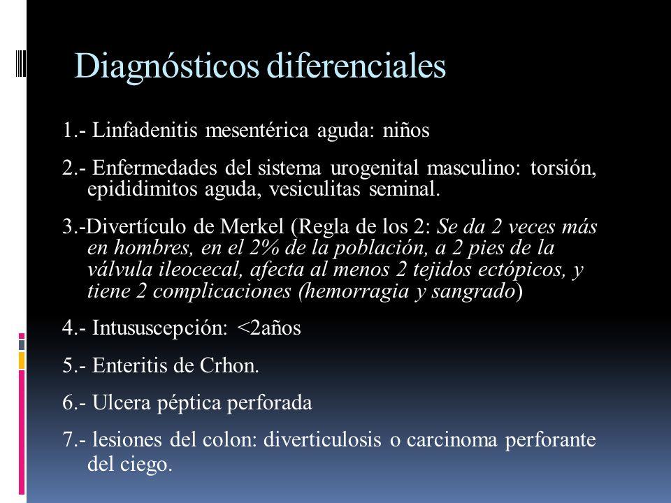 Diagnósticos diferenciales 1.- Linfadenitis mesentérica aguda: niños 2.- Enfermedades del sistema urogenital masculino: torsión, epididimitos aguda, v