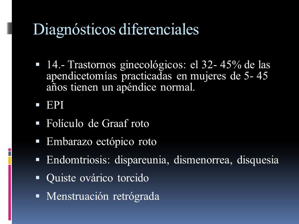 Diagnósticos diferenciales 14.- Trastornos ginecológicos: el 32- 45% de las apendicetomías practicadas en mujeres de 5- 45 años tienen un apéndice nor