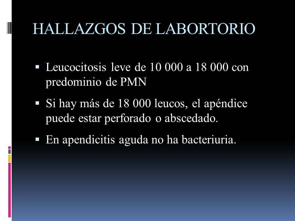 HALLAZGOS DE LABORTORIO Leucocitosis leve de 10 000 a 18 000 con predominio de PMN Si hay más de 18 000 leucos, el apéndice puede estar perforado o ab