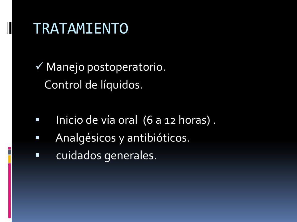 TRATAMIENTO Manejo postoperatorio. Control de líquidos. Inicio de vía oral (6 a 12 horas). Analgésicos y antibióticos. cuidados generales.