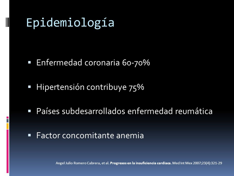 Tratamiento Tratamiento sintomático Tratamiento farmacológico: Inhibidores de la enzima convertidora de angiotensina II (IECAs): Fracción de eyección 35%), sin considerar la presencia o no de síntomas de IC Reducen la mortalidad de la IC avanzada (clases II-IV de NYHA), e incluso también en individuos con mejor clase funcional y hasta en la disfunción ventricular asintomática.