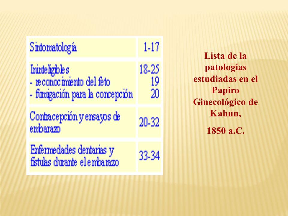 Lista de la patologías estudiadas en el Papiro Ginecológico de Kahun, 1850 a.C.