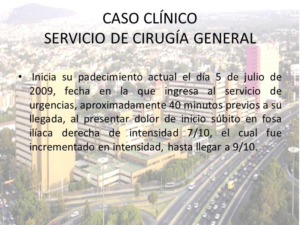 Inicia su padecimiento actual el día 5 de julio de 2009, fecha en la que ingresa al servicio de urgencias, aproximadamente 40 minutos previos a su lle