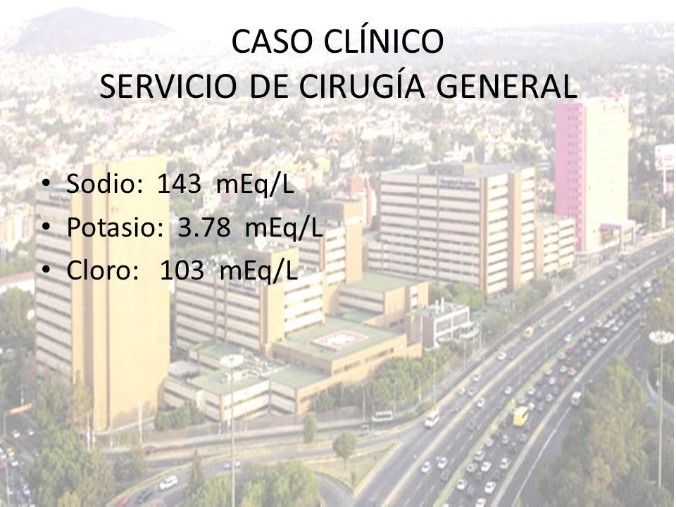 Sodio: 143 mEq/L Potasio: 3.78 mEq/L Cloro: 103 mEq/L CASO CLÍNICO SERVICIO DE CIRUGÍA GENERAL