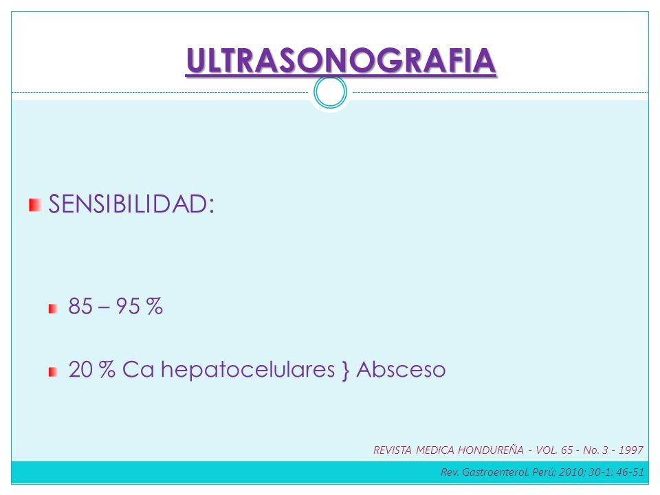 SENSIBILIDAD: 85 – 95 % 20 % Ca hepatocelulares } Absceso ULTRASONOGRAFIA Rev. Gastroenterol. Perú; 2010; 30-1: 46-51 REVISTA MEDICA HONDUREÑA - VOL.