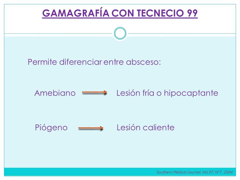 GAMAGRAFÍA CON TECNECIO 99 Permite diferenciar entre absceso: AmebianoLesión fría o hipocaptante Piógeno Lesión caliente Southern Medical Journal.