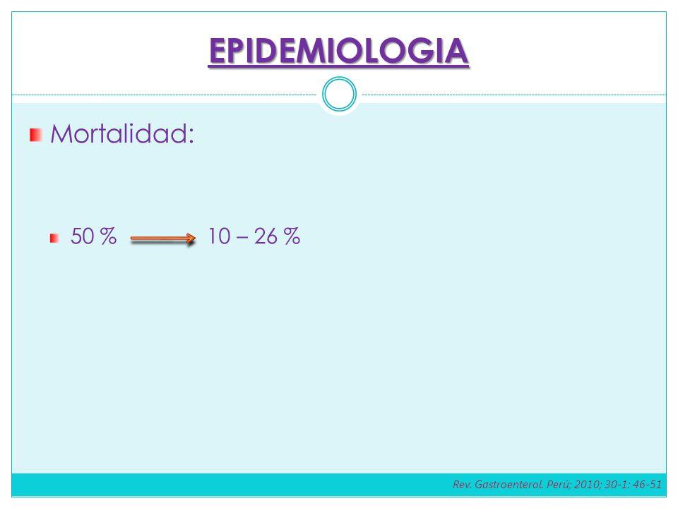 EPIDEMIOLOGIA Mortalidad: 50 % 10 – 26 % Rev. Gastroenterol. Perú; 2010; 30-1: 46-51