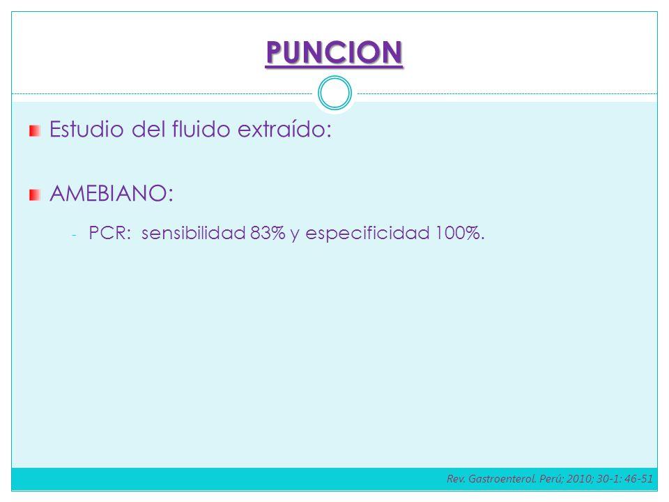 PUNCION Estudio del fluido extraído: AMEBIANO: - PCR: sensibilidad 83% y especificidad 100%. Rev. Gastroenterol. Perú; 2010; 30-1: 46-51