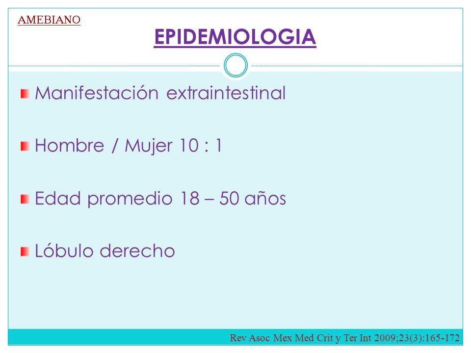 EPIDEMIOLOGIA Manifestación extraintestinal Hombre / Mujer 10 : 1 Edad promedio 18 – 50 años Lóbulo derecho Rev Asoc Mex Med Crit y Ter Int 2009;23(3):165-172