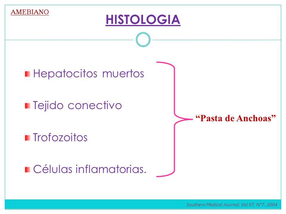 HISTOLOGIA Hepatocitos muertos Tejido conectivo Trofozoitos Células inflamatorias. Pasta de Anchoas Southern Medical Journal. Vol 97, N°7. 2004