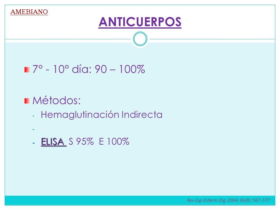 ANTICUERPOS 7° - 10° día: 90 – 100% Métodos: - Hemaglutinación Indirecta - - ELISA - ELISA S 95% E 100% Rev Esp Enferm Dig 2004; 96(8): 567-577