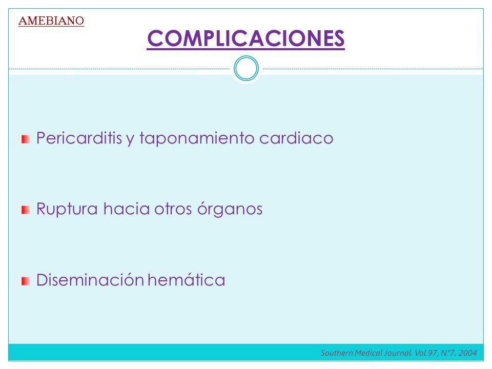 COMPLICACIONES Pericarditis y taponamiento cardiaco Ruptura hacia otros órganos Diseminación hemática Southern Medical Journal. Vol 97, N°7. 2004