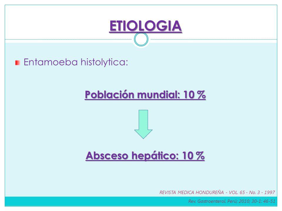 Entamoeba histolytica: Población mundial: 10 % Absceso hepático: 10 % Absceso hepático: 10 % ETIOLOGIA Rev. Gastroenterol. Perú; 2010; 30-1: 46-51 REV