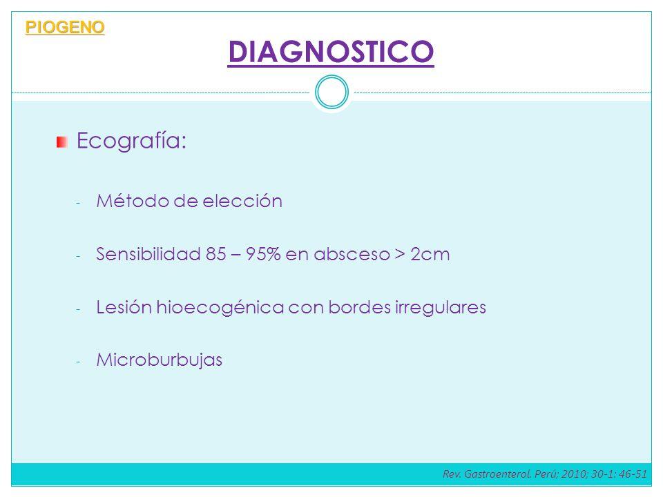 DIAGNOSTICO Ecografía: - Método de elección - Sensibilidad 85 – 95% en absceso > 2cm - Lesión hioecogénica con bordes irregulares - Microburbujas PIOGENO Rev.