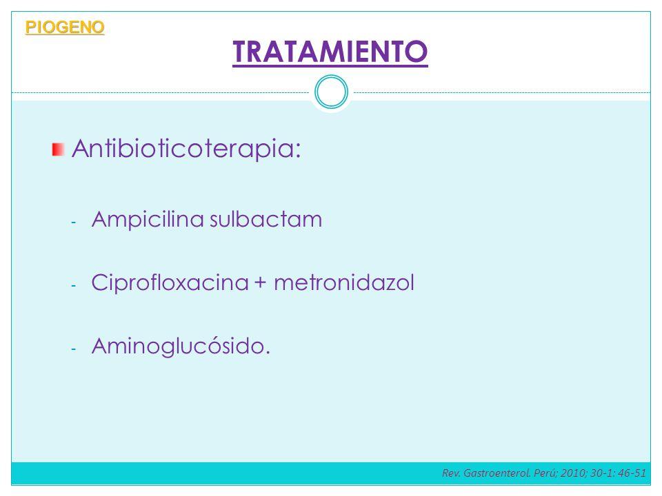 TRATAMIENTO Antibioticoterapia: - Ampicilina sulbactam - Ciprofloxacina + metronidazol - Aminoglucósido. PIOGENO Rev. Gastroenterol. Perú; 2010; 30-1: