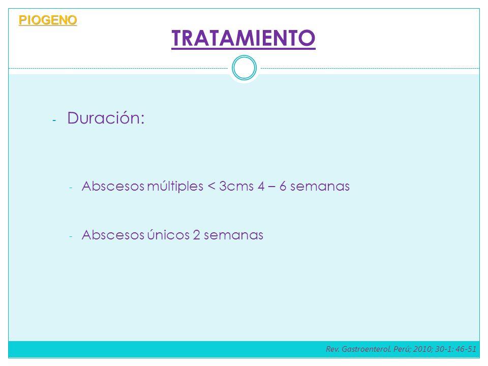 TRATAMIENTO - Duración: - Abscesos múltiples < 3cms 4 – 6 semanas - Abscesos únicos 2 semanas PIOGENO Rev. Gastroenterol. Perú; 2010; 30-1: 46-51