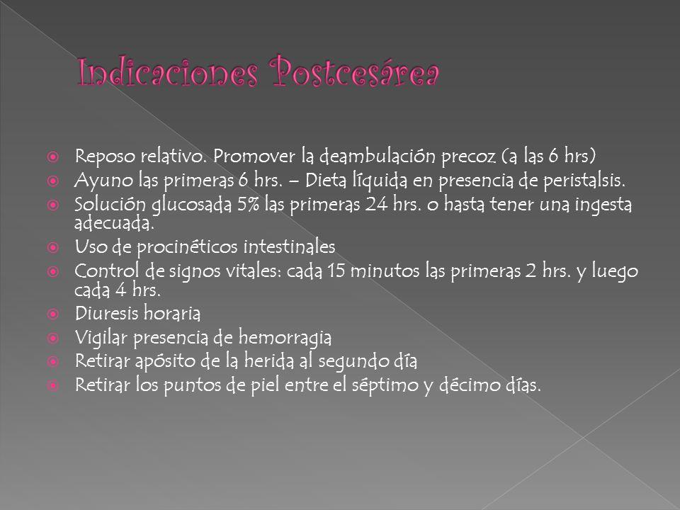 Reposo relativo. Promover la deambulación precoz (a las 6 hrs) Ayuno las primeras 6 hrs. – Dieta líquida en presencia de peristalsis. Solución glucosa