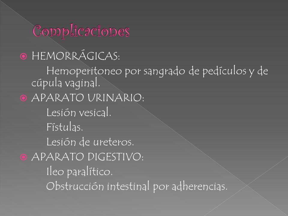 HEMORRÁGICAS: Hemoperitoneo por sangrado de pedículos y de cúpula vaginal. APARATO URINARIO: Lesión vesical. Fístulas. Lesión de ureteros. APARATO DIG