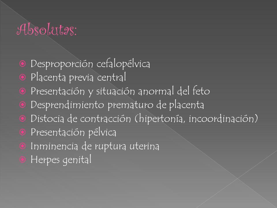 CaCu Toxemia severa RPM Cesárea anterior Interrupción del embarazo por : isoinmunización, toxemia, diabetes, etc.
