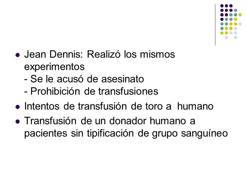 HISTORIA SXVII Jean Dennis: Realizó los mismos experimentos - Se le acusó de asesinato - Prohibición de transfusiones Intentos de transfusión de toro