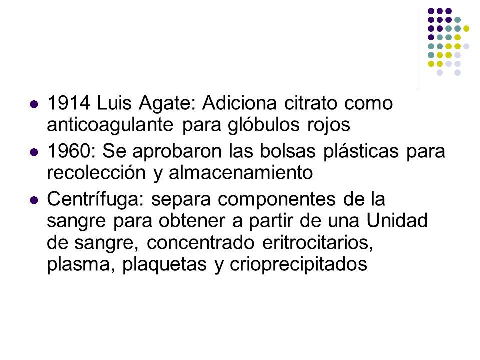 HISTORIA SXX 1914 Luis Agate: Adiciona citrato como anticoagulante para glóbulos rojos 1960: Se aprobaron las bolsas plásticas para recolección y alma