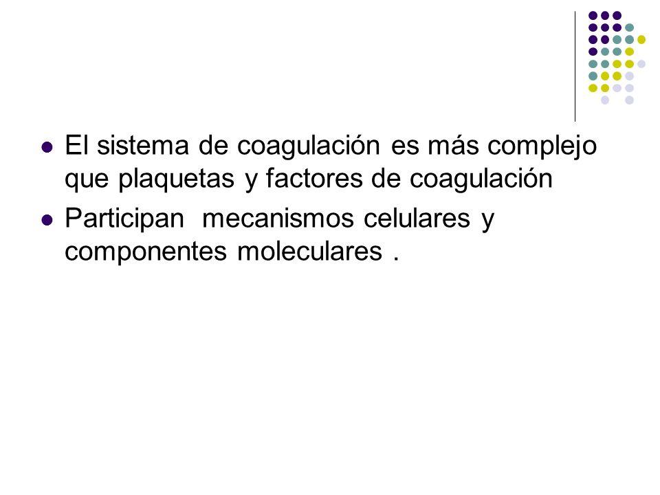 SISTEMA DE COAGULACIÓN El sistema de coagulación es más complejo que plaquetas y factores de coagulación Participan mecanismos celulares y componentes
