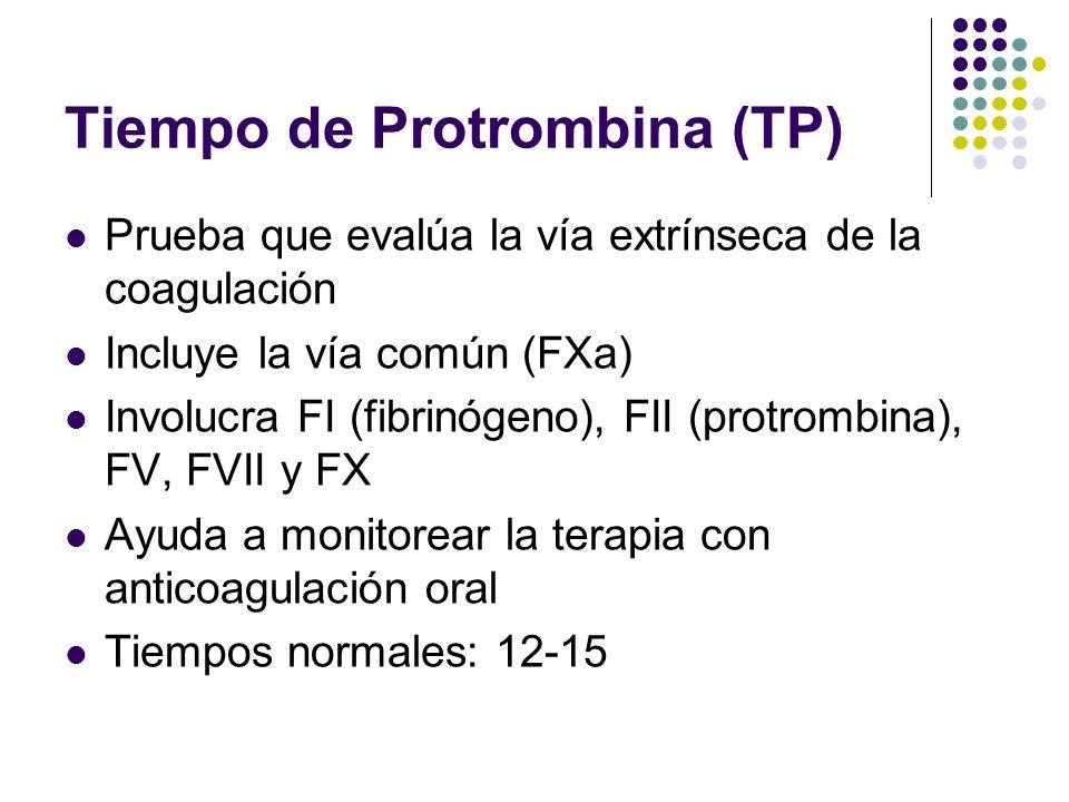 Tiempo de Protrombina (TP) Prueba que evalúa la vía extrínseca de la coagulación Incluye la vía común (FXa) Involucra FI (fibrinógeno), FII (protrombi