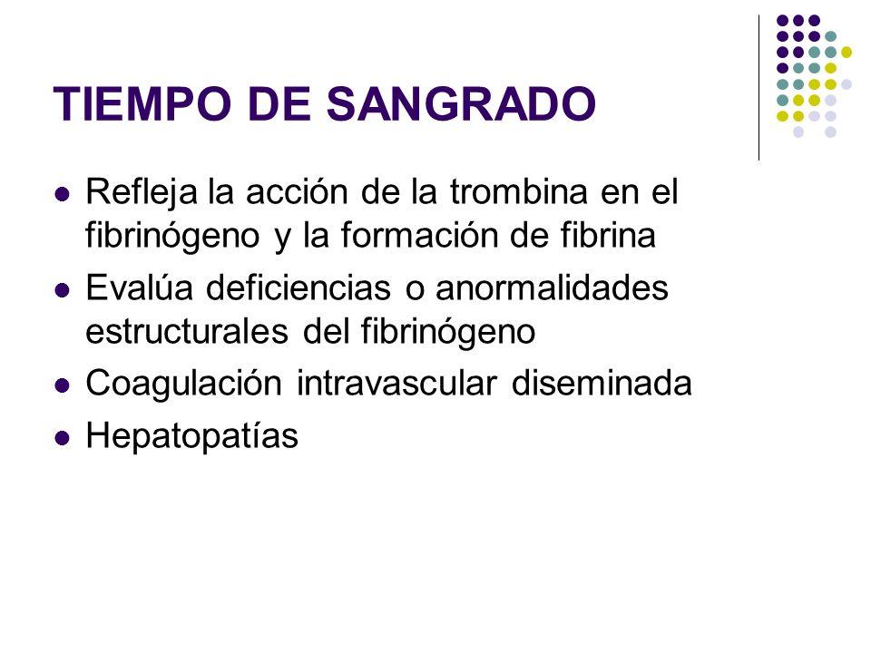 TIEMPO DE SANGRADO Refleja la acción de la trombina en el fibrinógeno y la formación de fibrina Evalúa deficiencias o anormalidades estructurales del