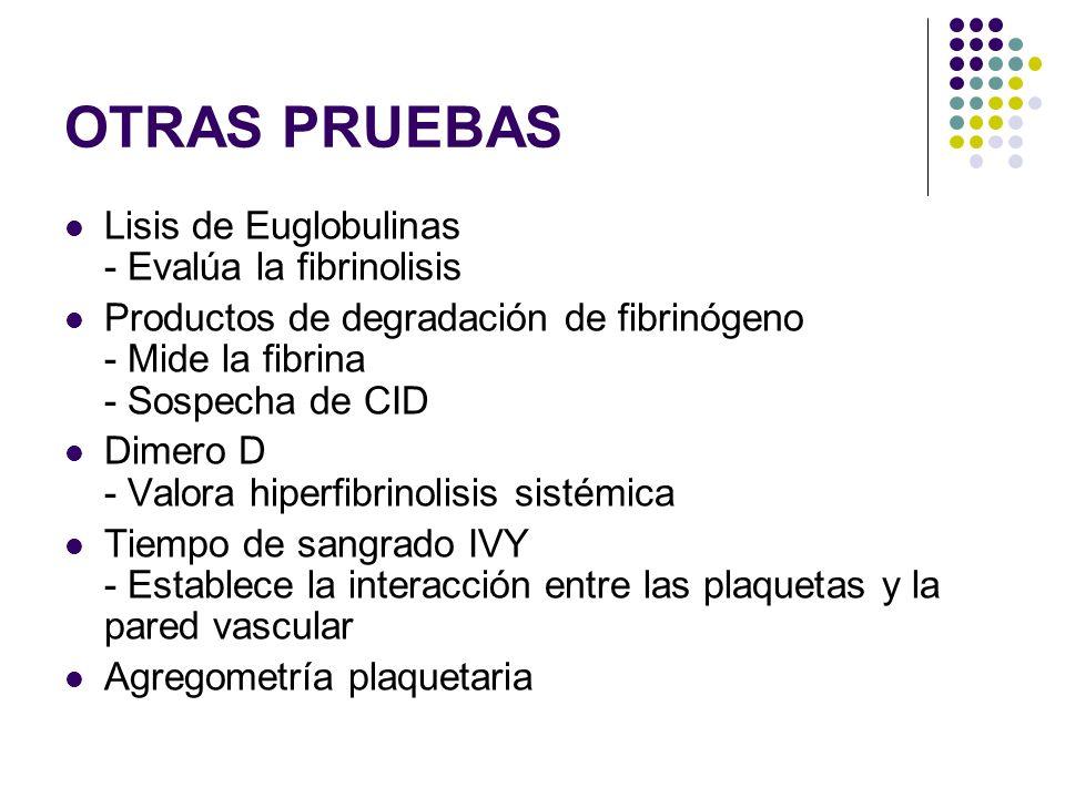 OTRAS PRUEBAS Lisis de Euglobulinas - Evalúa la fibrinolisis Productos de degradación de fibrinógeno - Mide la fibrina - Sospecha de CID Dimero D - Va