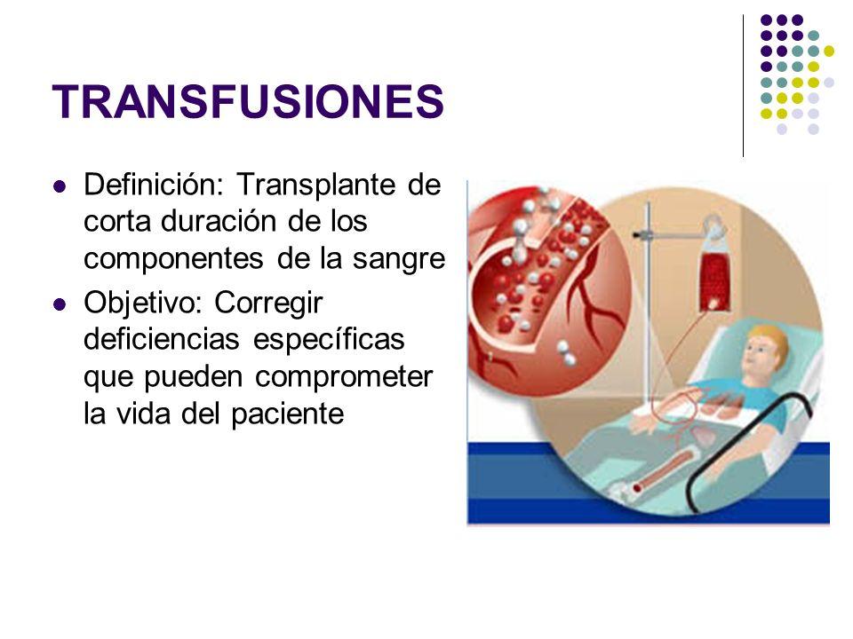 TRANSFUSIONES Definición: Transplante de corta duración de los componentes de la sangre Objetivo: Corregir deficiencias específicas que pueden comprom