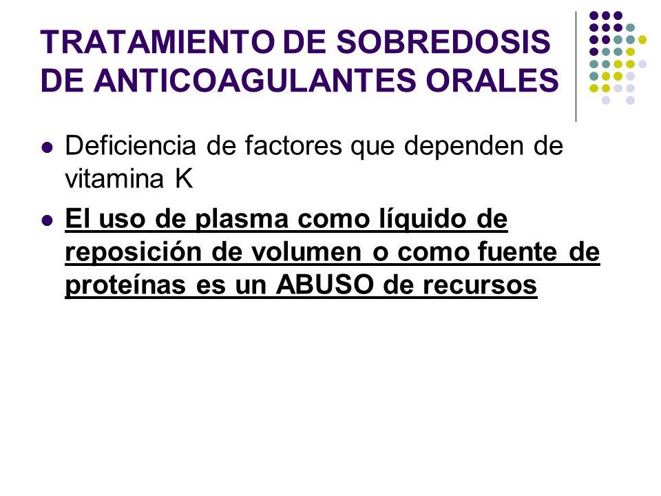 TRATAMIENTO DE SOBREDOSIS DE ANTICOAGULANTES ORALES Deficiencia de factores que dependen de vitamina K El uso de plasma como líquido de reposición de