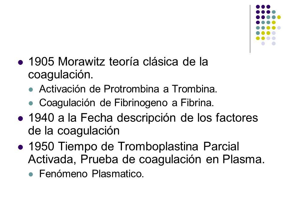 Historia 1905 Morawitz teoría clásica de la coagulación. Activación de Protrombina a Trombina. Coagulación de Fibrinogeno a Fibrina. 1940 a la Fecha d