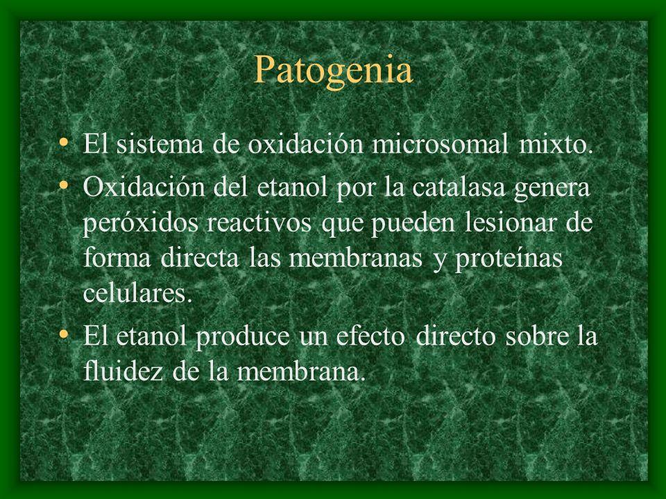 Patogenia El sistema de oxidación microsomal mixto. Oxidación del etanol por la catalasa genera peróxidos reactivos que pueden lesionar de forma direc