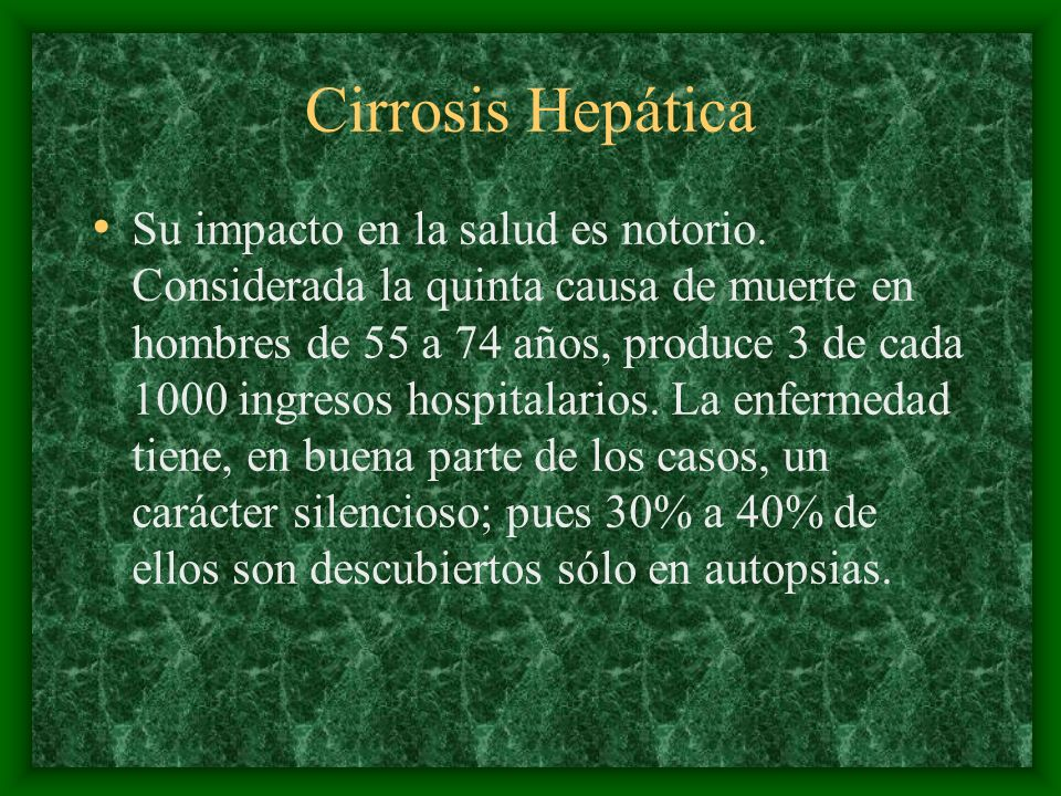 Patogenia Cirrosis: –Cirrosis macronodular: que evoluciona a partir de la necrosis en pacientes con hepatitis viral crónica grave con nódulos mayores de 3 mm o cms separados entre sí por bandas gruesas asimétricas de tejido conjuntivo.
