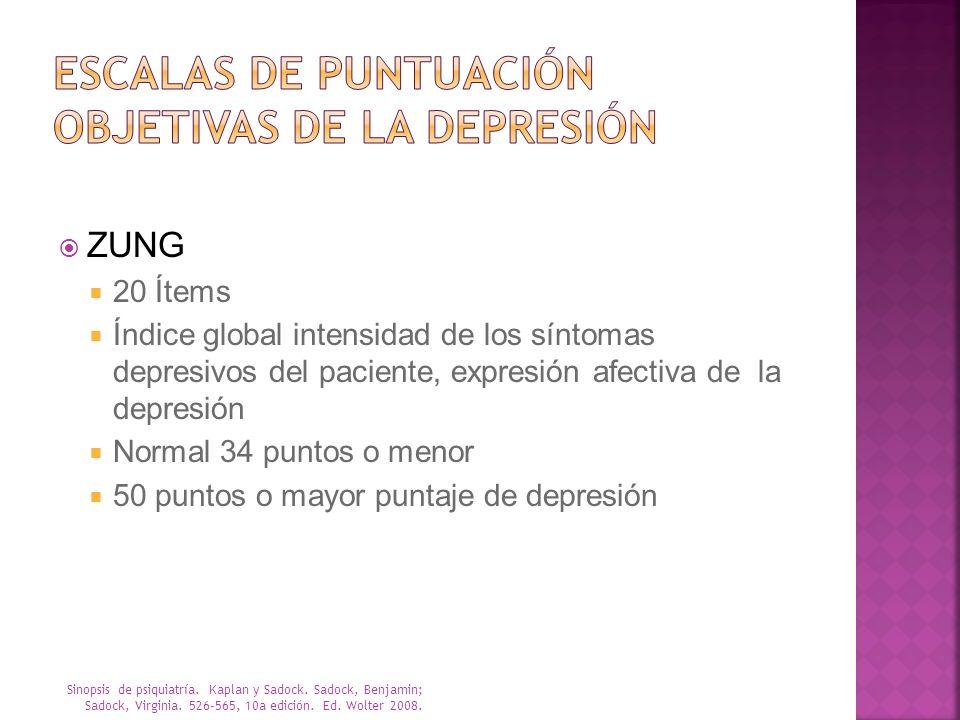 ZUNG 20 Ítems Índice global intensidad de los síntomas depresivos del paciente, expresión afectiva de la depresión Normal 34 puntos o menor 50 puntos