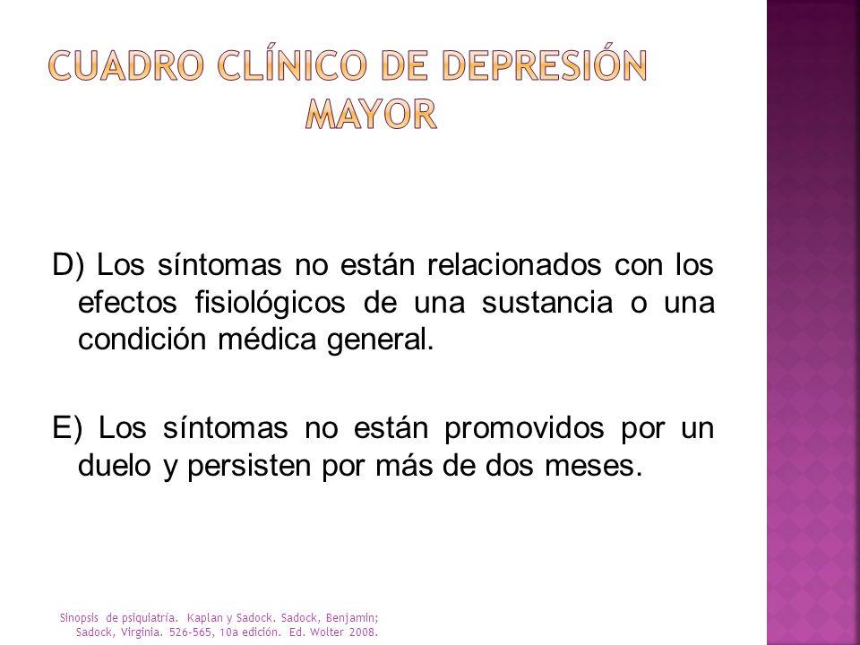 D) Los síntomas no están relacionados con los efectos fisiológicos de una sustancia o una condición médica general. E) Los síntomas no están promovido